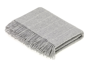 Merino Lambswool Throw Blanket Milan - Pinstripe Gray