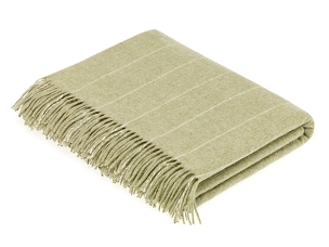 Merino Lambswool Throw Blanket Milan - Pinstripe Sage