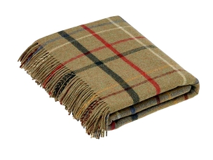 Merino Lambswool Throw Blanket Milan - Litton Lovat Check