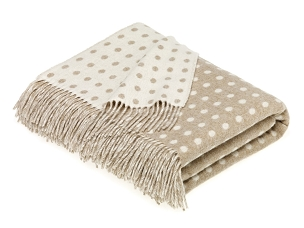 Spot - Beige Merino Lambswool Throw Blanket Milan