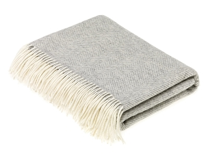Merino Lambswool Throw Blanket Milan - Herringbone - Gray