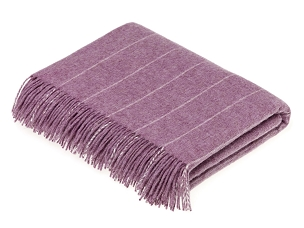 Pinstripe Lilac Merino Lambswool Throw Blanket Milan