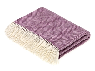 Merino Lambswool Throw Blanket Milan - Herringbone - Lilac