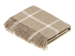 Merino Lambswool Throw Blanket Milan - Block Windowpane - Beige