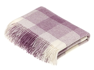 Merino Lambswool Throw Blanket Milan - Blanket Check - Lilac