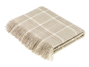 Merino Lambswool Throw Blanket Milan - Prince of Wales Check - Beige