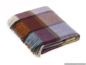 Merino Lambswool Throw Blanket Milan - Pateley Damson