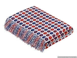 Merino Lambswool Throw Blanket Milan - Red / Blue