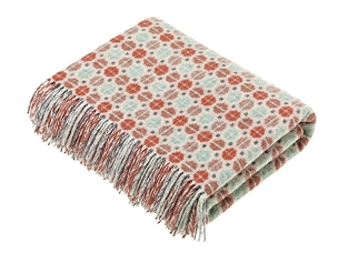 Coral / Mint Merino Lambswool Throw Blanket Milan
