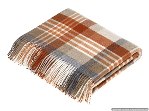 Melbourne - Saffron / Burnt Orange Merino Lambswool Throw Blanket Milan