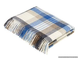 Melbourne / Aqua Merino Lambswool Throw Blanket Milan
