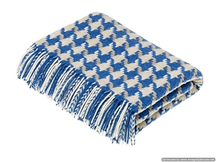 Merino Lambswool Throw Blanket Milan - Houndstooth - Aqua / Camel