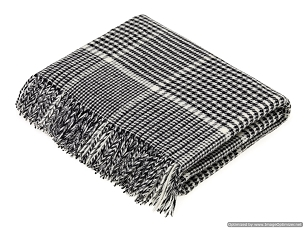 Merino Lambswool Throw Blanket Milan - Prince of Wales Check - Black and White