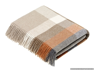 Merino Lambswool Throw Blanket Milan - Harley Stripe / Saffron - Burnt Orange