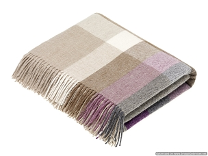 Merino Lambswool Throw Blanket Milan - Harley Stripe / Clover