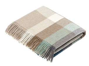Merino Lambswool Throw Blanket Milan - Harley Stripe / Eucalyptus