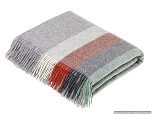 Harley Stripe / Coral / Mint Merino Lambswool Throw Blanket Milan