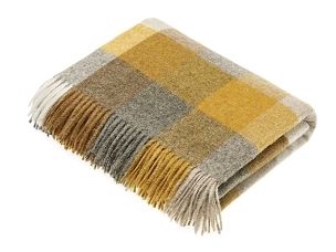 Merino Lambswool Throw Blanket Milan - Harlequin - Mustard