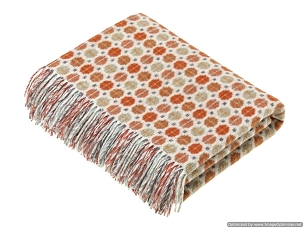 Merino Lambswool Throw Blanket Milan - Saffron / Burnt Orange