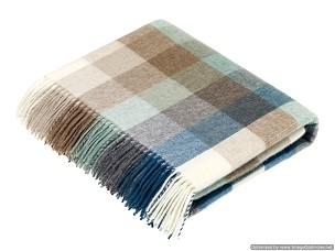 Merino Lambswool Throw Blanket Milan - Harlequin / Eucalyptus