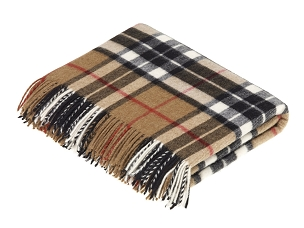Merino Lambswool Throw Blanket in Camel Thompson Tartan