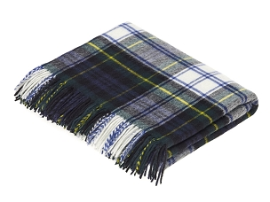 Merino Lambswool Throw Blanket in Dress Gordon Tartan