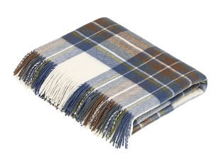Merino Lambswool Throw Blanket in Muted Blue Stewart Tartan