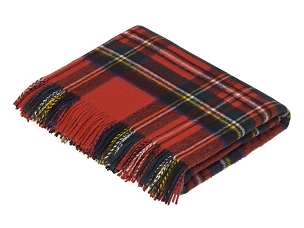 Merino Lambswool Throw Blanket in Royal Stewart Tartan