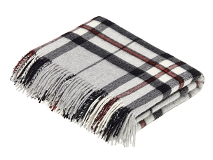 Merino Lambswool Throw Blanket in Gray Thompson Tartan