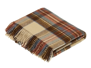 Merino Lambswool Throw Blanket in Antique Dress Stewart Tartan