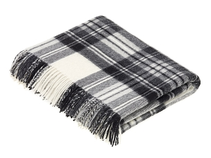 Merino Lambswool Throw Blanket in Gray Stewart Tartan