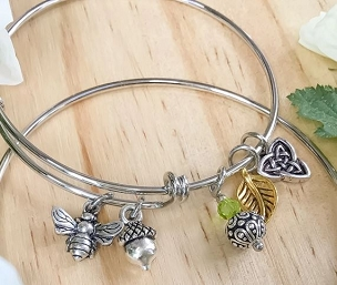 Celtic Bee and Acorn Charm Bangle Bracelet