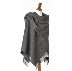 Grey Mini Ruana - 100% Merino Lambswool