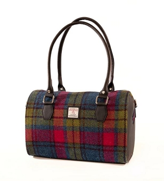 Harris Tweed Bowling Bag - Blue/Pink Check