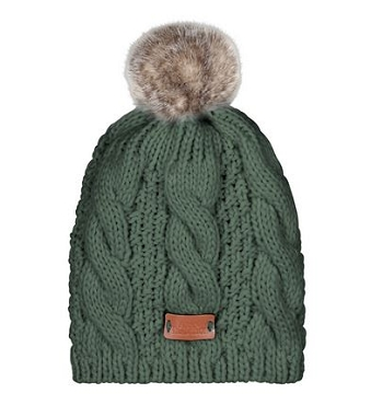 Green Cable Fur Pom Pom Hat