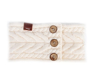 Aran Button Headband - Cream