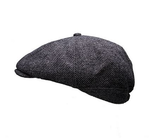 Peaky Stud Cap Grey Tweed
