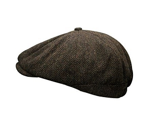 Peaky Stud Cap Brown Herringbone Tweed