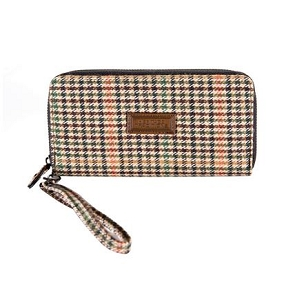 Houndstooth Tweed Long Zip Purse