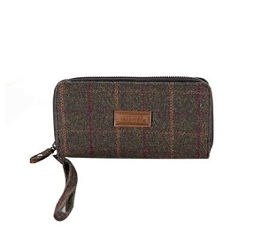 Green Check Tweed Long Zip Purse