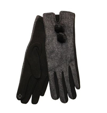 Ladies Grey Herringbone Glove