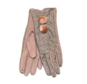 Ladies Camel Herringbone Glove