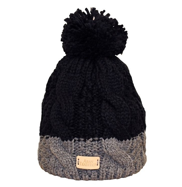 Aran Cable Pom Pom Beanie - Black/Grey