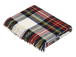 Merino Lambswool Throw Blanket in Dress Stewart Tartan
