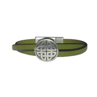 Women's Leather Celtic Bracelet  (Black, Brown or Green Band)