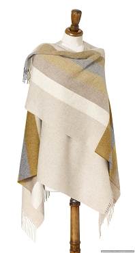 Stripe - Gold / Gray Mini Ruana - 100% Merino Lambswool