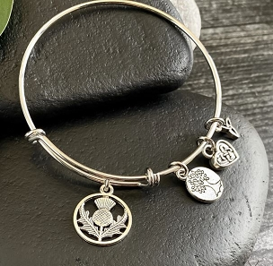 Scottish Thistle Charm Bangle